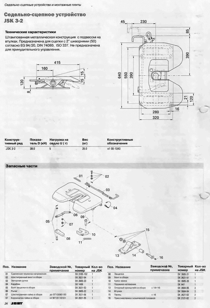 Седельно-сцепное устройство JSK 3-2 (седло)