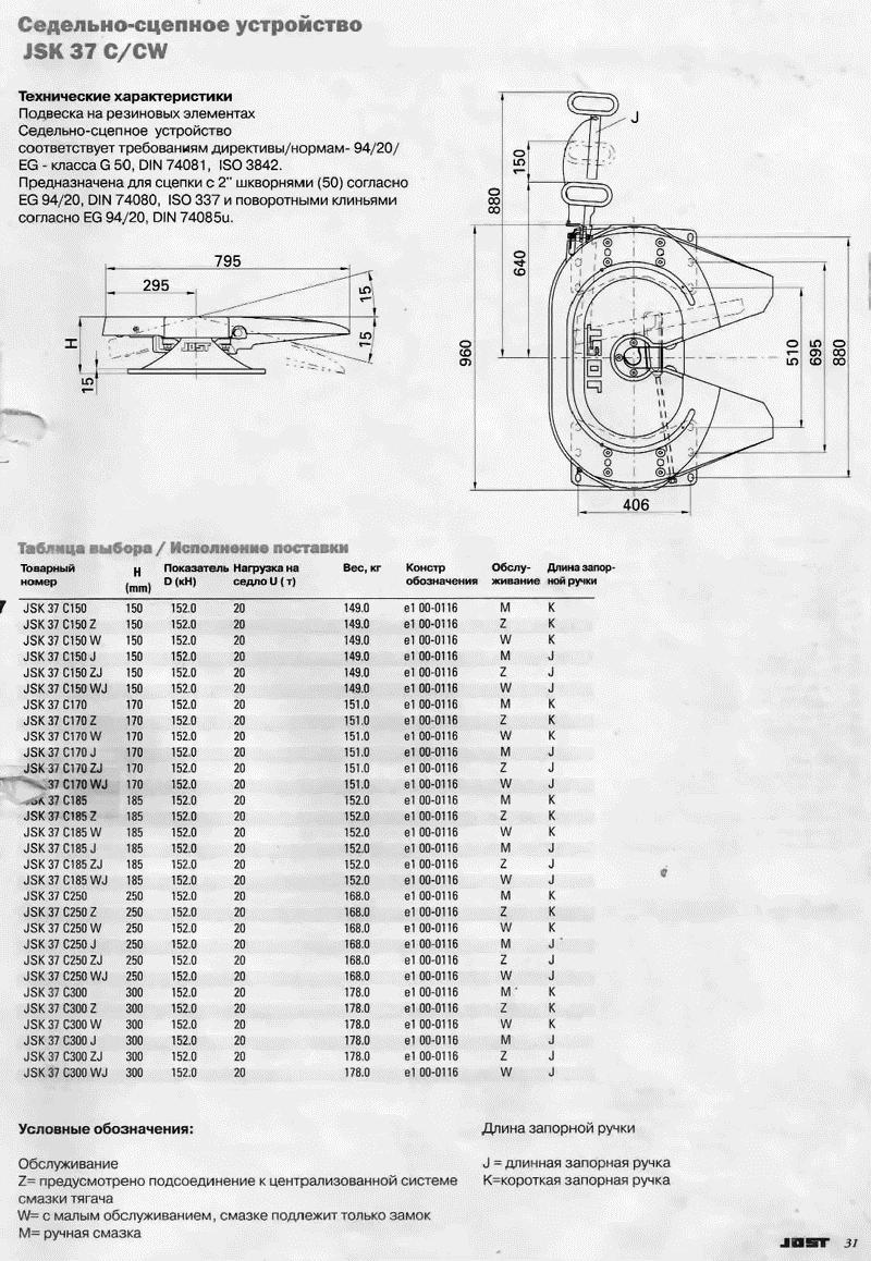 Седельно-сцепное устройство - седло JSK 37 C (CW)