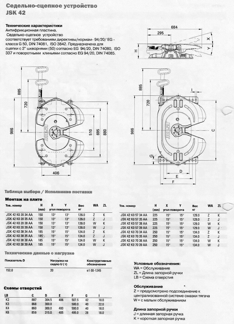 Седельно-сцепное устройство JSK 42 (седло)